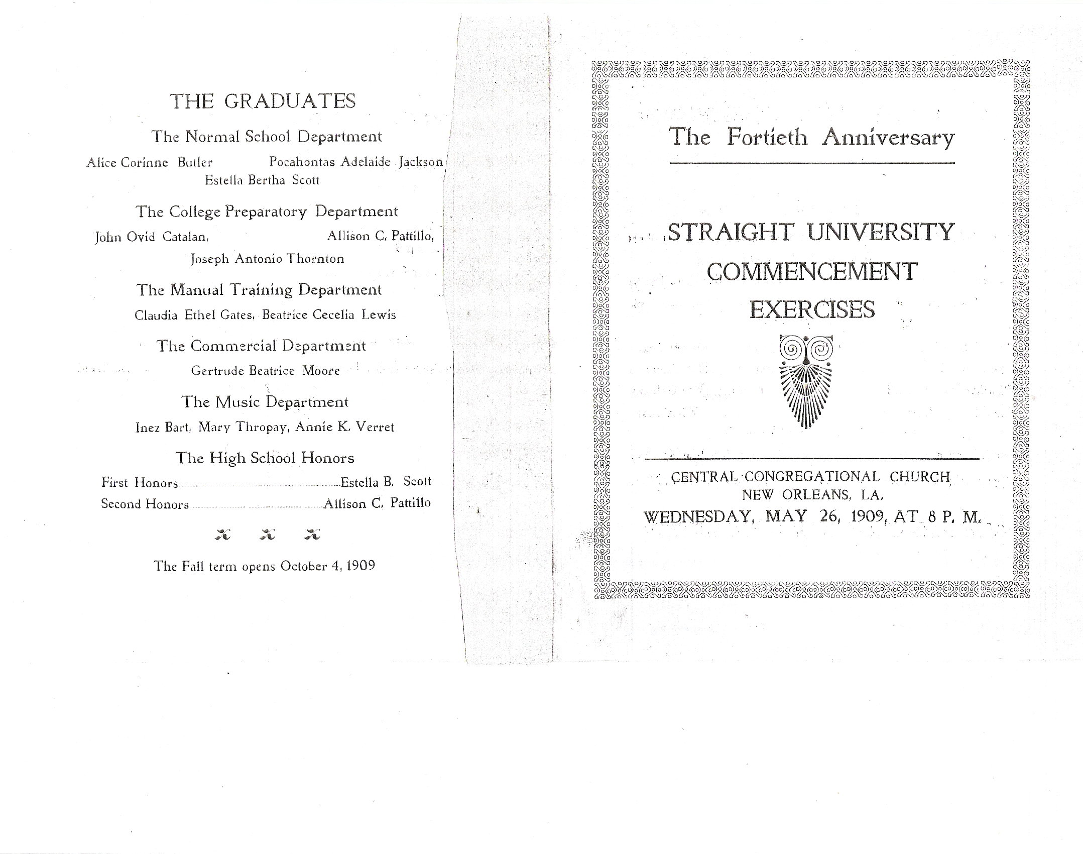 1909 Commencement - Straight University, New Orleans